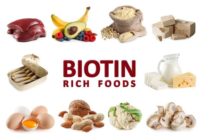 Olika mat som innehåller Biotin